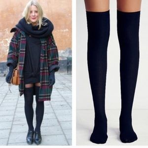 Free People Black Ribbed Over the Knee boot Socks